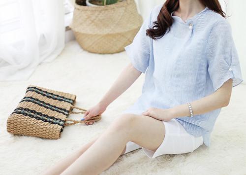 K55 BL4969 / Rizzen短裤亚麻女衬衫(点击抢购!)
