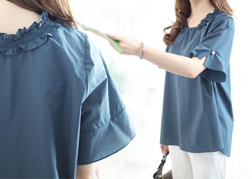 K55 BL5127 / Heros Neck Shirring Woman衬衫